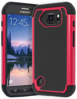 Samsung Galaxy S6 Active Hybrid Black Silicone Cover with Pink Black Case - BastexShop