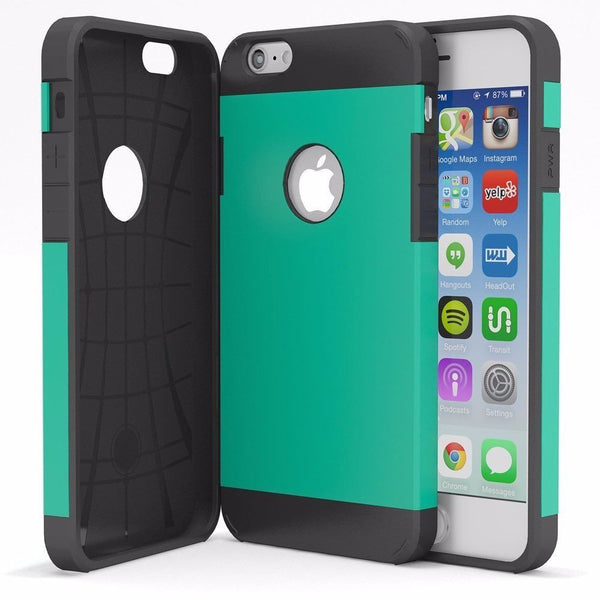 "iPhone 6, 4.7"" Hybrid Teal with Black Silicone Protective Case Cover - BastexShop"