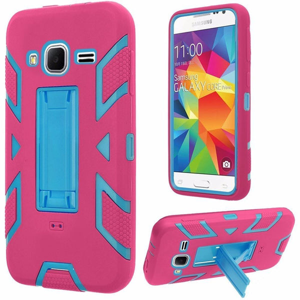 Samsung Galaxy Core Prime Vertical Hybrid Stand Case Cover-Sky Blue+Hot Pink