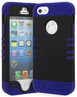 iPhone 5 Hybrid   Deep Blue Silicone Cover  Black Case - BastexShop