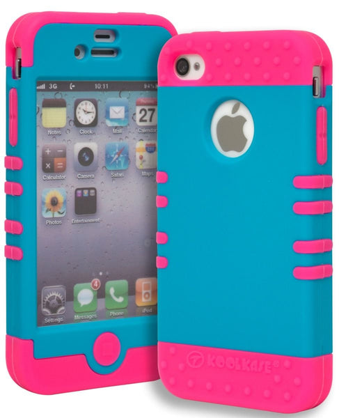 iPhone 4, Hot Pink Silicone Cover and Neon Blue  Shell Phone Case - BastexShop