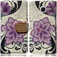Samsung Galaxy Core Prime PU Leather Bling Flip Wallet Case - Violet Lily - BastexShop