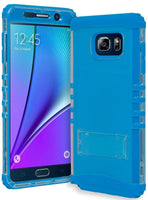 Samsung Galaxy Note 5 Hybrid Neon Blue Silicone Cover  Clear Stand Case - BastexShop