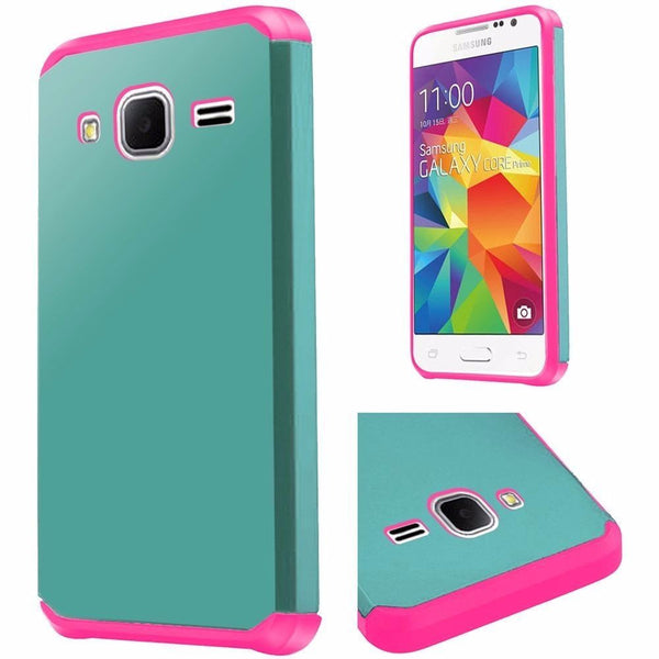 Samsung Galaxy Core Prime Slim Armor Hybrid PC TPU Case - Teal+Hot Pink - BastexShop