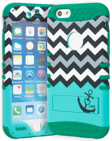 "iPhone 6 4.7"" Hybrid  Green Cover  Chevron Teal Anchor Stand Case - BastexShop"