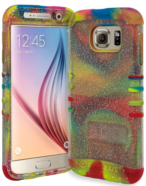 Samsung Galaxy S6 Hybrid Tie Dye Cover and Clear Glitter Kickstand Case - BastexShop