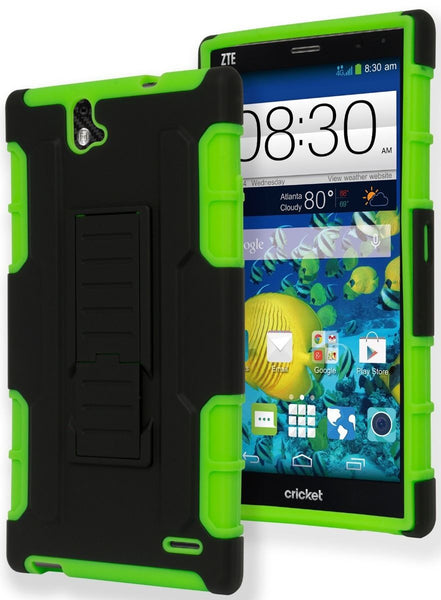 ZTE Grand X Max Z787 Hybrid  Neon Green Cover  Black Stand Case - BastexShop