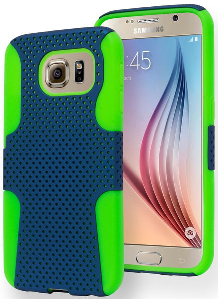 Samsung Galaxy S6 Edge, Durable Light BlueCoverNeon Green Mesh Case - BastexShop
