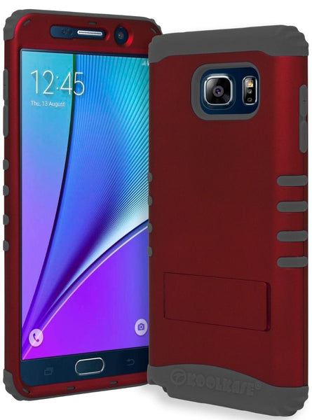 Samsung Galaxy Note 5 Hybrid Grey Silicone Cover  Red Stand Case - BastexShop