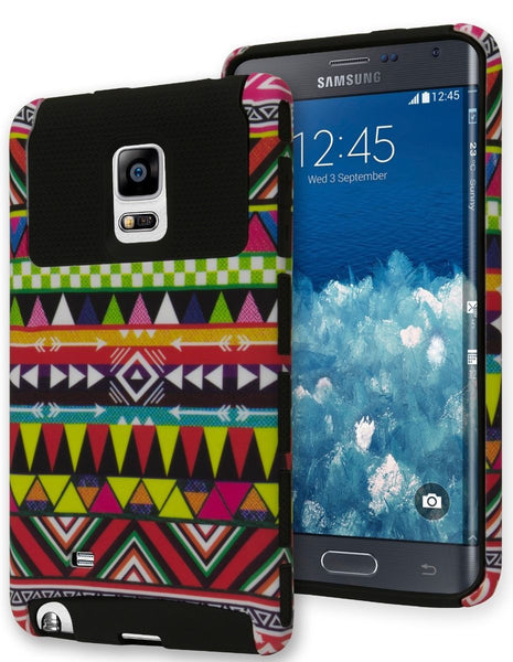 Samsung Galaxy Note Edge Hybrid  Black Cover  Aztec Tribal Case - BastexShop