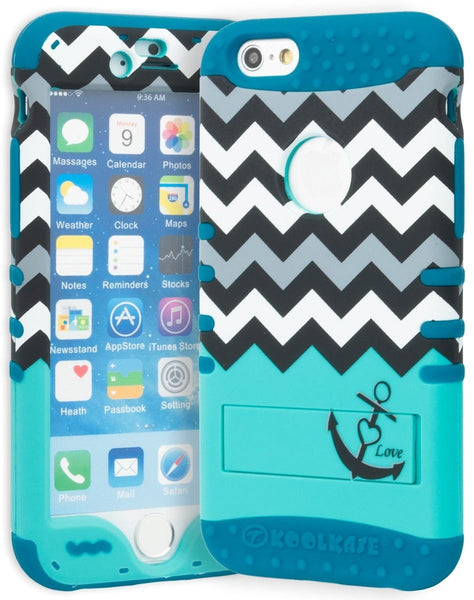"iPhone 6 4.7"" Hybrid  Neon Blue Cover Chevron Teal Anchor Stand Case - BastexShop"