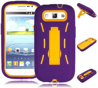Hybrid Kickstand Yellow  Case  Purple Silicone Cover  Samsung Galaxy S3 - BastexShop
