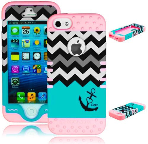 iPhone 5, 5S Hybrid Blue Chevron Anchor  Case  Mint Teal Silicone Cover - BastexShop
