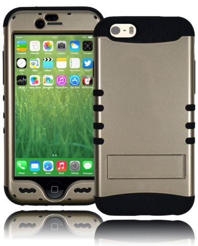 "Hybrid Silver Kickstand Case Cover with Black Silicon  iPhone 6 (4.7"") - BastexShop"