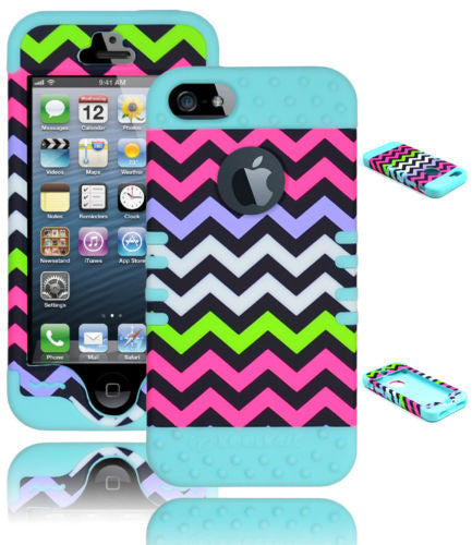 iPhone 5, 5S   Hybrid Chevron  Case + Light Blue Silicone Cover - BastexShop