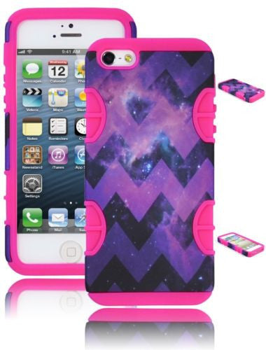 Hybrid Purple Star Nebular Chevron  Case+ Pink Silicone  iPhone 5, 5S - BastexShop