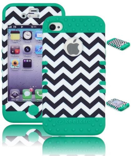 Hybrid Chevron  Case+ Mint Teal Silicone Cover  iPhone 4, 4S - BastexShop
