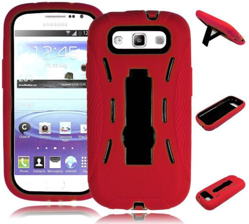 Samsung Galaxy S3 III Hybrid Red Silicone Case  Black Kickstand  Cover - BastexShop