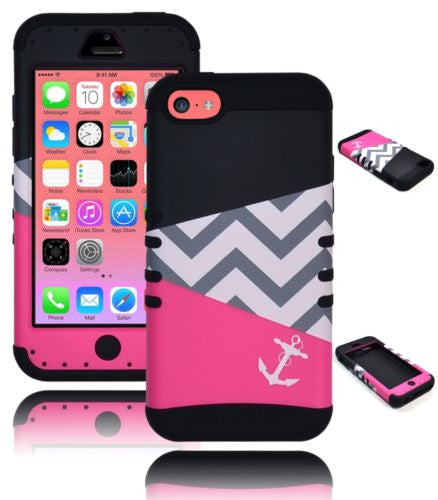 iPhone 5C Hybrid Pink Chevron Anchor  Case  Black Silicone Cover - BastexShop