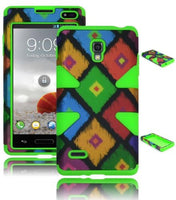 Colorful Tribal Diamond Print Hybrid  Green Case  LG Optimus L9 P769 - BastexShop