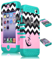 Pink Chevron Hybrid Anchor Case  Teal Silicone Cover  iPhone 4, 4S - BastexShop