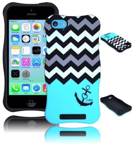 iPhone 5C Hybrid Teal Wave Chevron Anchor Case  Black Silicone Cover - BastexShop