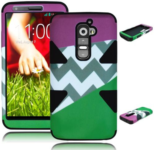 Purple and Teal  Chevron Hybrid Case + Black Silicone  LG G2 VS980 - BastexShop