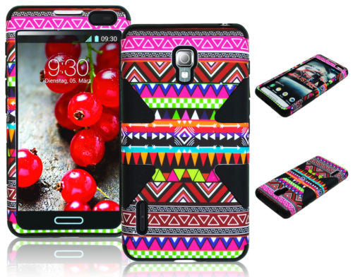LG Optimus F7US780 Hybrid Pink Tribal Aztec  Case+Black Silicone Cover - BastexShop