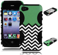iPhone 4, 4G, 4S Mint Green Chevron Print  Case + Black Silicone Cover - BastexShop