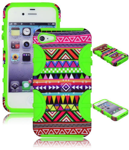 iPhone 4, 4s Hybrid Colorful Tribal Aztec  Case + Green Silicone Cover - BastexShop