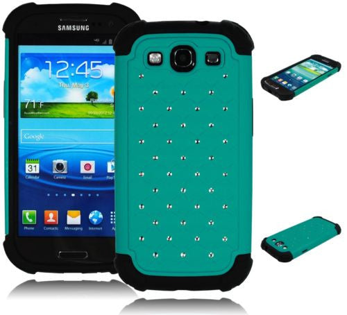 Samsung Galaxy S3 Hybrid Teal Spot Diamond  Case + Black Silicone Cover - BastexShop
