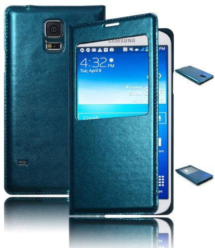 Blue Leather PU Flip Wallet Window Case Cover  Samsung Galaxy S5 G900 - BastexShop