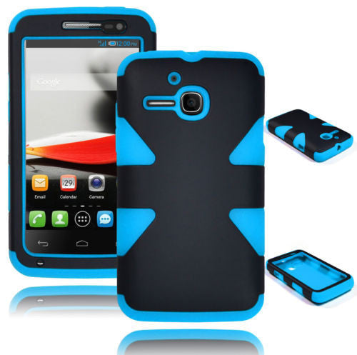 Alcatel One Touch Evolve 5020T Black Dynamic Case + Sky Blue Silicone Cover - BastexShop