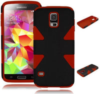 Samsung Galaxy S5 Hybrid Black Dynamic  Case + Red Silicone Cover - BastexShop