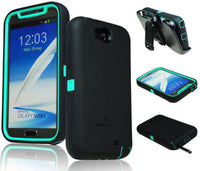 ZeroLemon Teal  Black Zero Shock Series Hybrid Case+ Holster  Samsung Note 2 - BastexShop