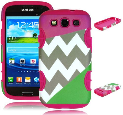 Purple  Green Chevron Hybrid Case+Hot Pink Silicone  Samsung Galaxy S3 i9300 - BastexShop