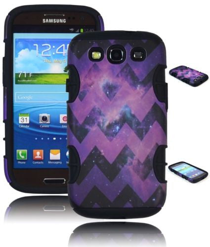Samsung Galaxy S3 Purple Hybrid Chevron with Stars Case + Black Silicone - BastexShop