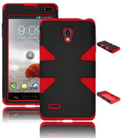 LG Optimus L9 P769 Black  Case Hybrid  Red Silicone Cover Dynamic - BastexShop