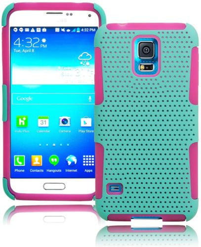 Hybrid Mint Green Mesh  Cover + Pink Silicone Cover  Samsung Galaxy S5 - BastexShop