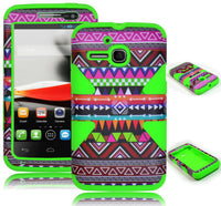 Alcatel One Touch Evolve 5020T Hybrid Green Tribal Aztect Dynamic Case Cover - BastexShop