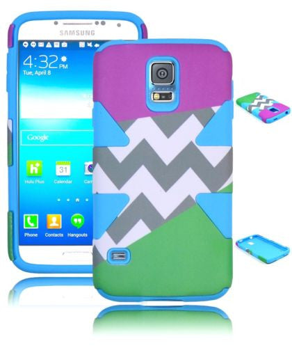 Hybrid Dynamic Case PurpleGreen Chevron+Blue Silicone Samsung Galaxy S5 I9600 - BastexShop