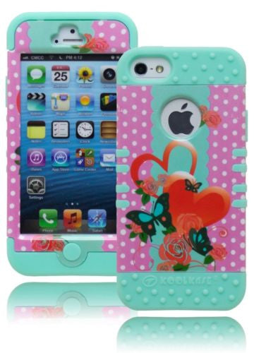iPhone 5, Hybrid Powder Blue with Pink Polka Dots and Butterfly  Case - BastexShop