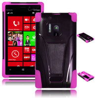 Nokia Lumia 928 Hybrid Black T-Stand  Case + Hot Pink Silicone Cover - BastexShop