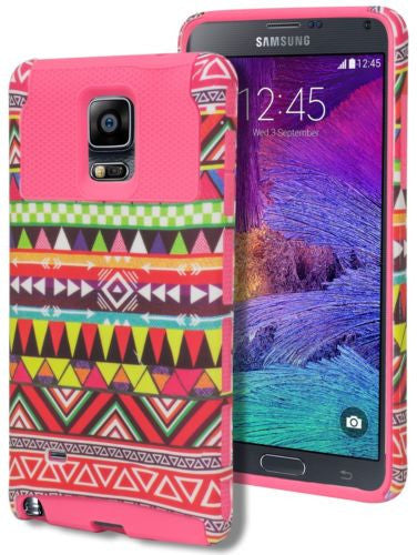 Galaxy Note 4, Hybrid Hot Pink Aztec Tribal Case Cover+Pink Silicone - BastexShop