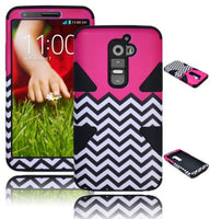 LG G2 VS980 D800 Hybrid White  Red Chevron  Case + Black Silicone Cover - BastexShop