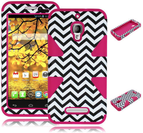 Alcatel One Touch Fierce 7024T Hybrid Chevron Case + Pink Silicone Cover - BastexShop