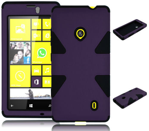Nokia Lumia 521 Hybrid Purple Dynamic  Case + Black Silicone Cover - BastexShop