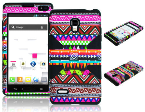 LG Optimus L9 P769 Hybrid Colorful Tribal Aztec Case + Black Silicone Cover - BastexShop