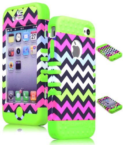 Pink Chevron  Hybrid Case  Green Silicone Cover  iPhone 4, 4S - BastexShop