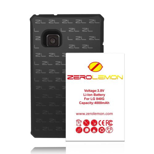 Zerolemon LG 840G 4000mAh Extended Battery + Black TPU Case Cover - BastexShop